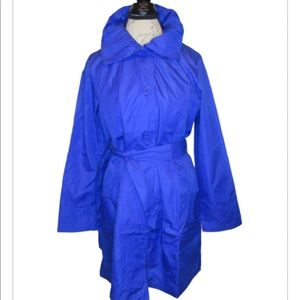 Dazzling Blue Ruffle-Trim Raincoat